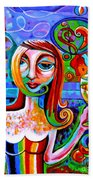 Girl With Glass Of Chardonnay Bath Towel