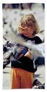 Girl With Pigeons Bath Towel