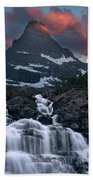 Glacier Morning Waterfall And Moonset Bath Towel