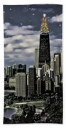 Glittering Chicago Christmas Tree Bath Towel