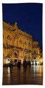 Glossy Outdoor Living Room - Passeggiata On Piazza Duomo In Syracuse Sicily Bath Towel