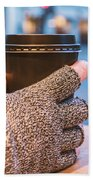 Gloved Hands Holding Coffee Cup Bath Towel