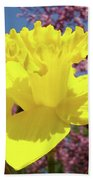 Glowing Yellow Daffodils Art Prints Pink Blossoms Spring Baslee Troutman Bath Towel
