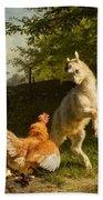 Goat Kid And A Hen Bath Towel