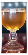 Goblet Of Refreshing Golden Beer On Shiny Dining Table Bath Towel