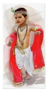 God Krishna Style Watercolor Bath Towel
