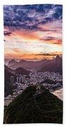 Going Up The Cable Car In Rio De Janeiro Bath Towel
