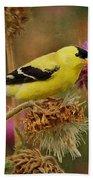 Goldfinch On Thistle Bath Towel
