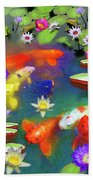 Gold Fish And Water Lily Pads Bath Towel