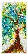 Gold Heart Valentine Tree Watercolor N Ink Bath Towel