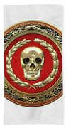 Gold Human Skull Over White Leather  Bath Towel