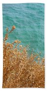 Gold Thistles And The Aegean Sea Bath Towel