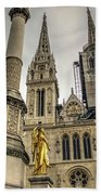 Golden Angel Statues In Front Of The Cathedral Hand Towel