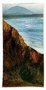 Golden Beach Cliff Side  Painterly Bath Towel