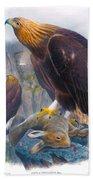 Golden Eagle Antique Print John Gould Birds Of Great Britain Bath Towel