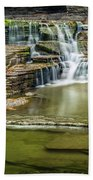 Golden Leaves And Mossy Tiers Of Enfield Glen Waterfall Bath Towel