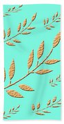 Golden Leaves On Aqua Bath Towel