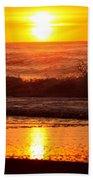 Golden Ocean City Sunrise Bath Towel