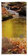 Golden Reflections In A Stream On The Blanchet Trail Gatineau Pa Bath Towel
