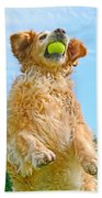 Golden Retriever Catch The Ball  Bath Towel