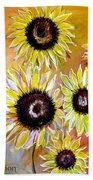 Golden Sunflowers Bath Towel