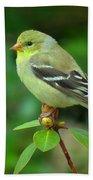 Goldfinch On Green Bath Towel