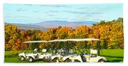Golf Carts On Vermont Golf Course Bath Towel