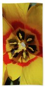 Gorgeous Look At The Center Of A Yellow Tulip Bath Towel