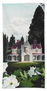 Gothic Country House Detail From Night Bridge Bath Towel