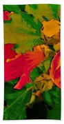 Gouache Painting Flower And Bumble Bee Bath Towel