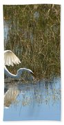 Graceful Great Egret Bath Towel