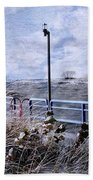 Grand Haven Channel With Winter Waves  Bath Towel