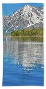 Grand Teton Mountain Reflection On Jackson Lake Bath Towel