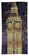 Graphic Art London Big Ben - Ultraviolet And Golden Hand Towel