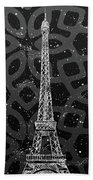 Graphic Art Paris Eiffel Tower - Silver And Grey Bath Towel