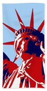 Graphic Statue Of Liberty Red White Blue Bath Towel