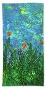 Grassland With Orange Flowers Hand Towel