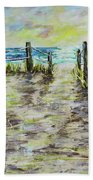 Grassy Beach Post Morning 2 Hand Towel