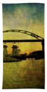 Grassy Island Lighthouses Bath Towel
