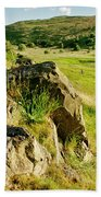 Grassy Slopes And Grass On Rocks. Hand Towel