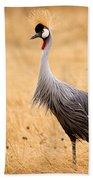 Gray Crowned Crane Bath Towel