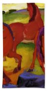 Grazing Horses Iv The Red Horses 1911 Bath Towel