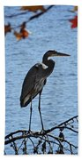Great Blue Heron At Shores Of King's Mountain Point Bath Towel