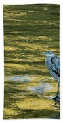 Great Blue Heron On A Golden River Bath Towel