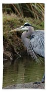 Great Blue Heron On The Watch Bath Sheet by George Randy Bass