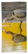 Great Blue Heron On Yellow Bath Towel