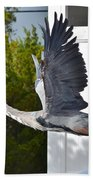 Great Blue Heron Taking Flight Bath Towel