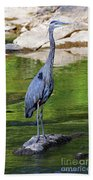 Great Blue Wading The Tuck Bath Towel