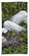 Great Egret Family Bath Towel
