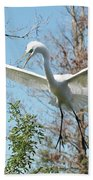 Great Egret Over The Treetops Bath Towel